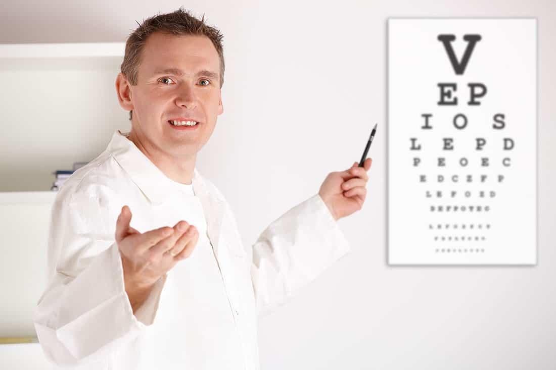 badanie wzroku (tablica Snellena)